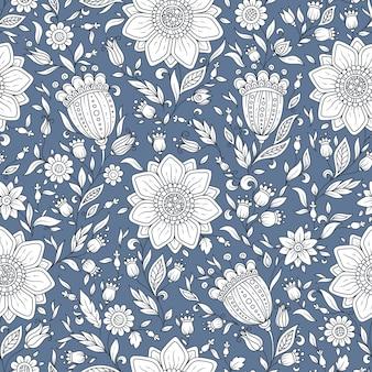 Patrón floral transparente con plantas y flores de fantasía