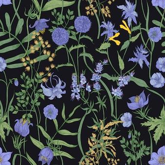 Patrón floral transparente con plantas herbáceas en flor y flores silvestres