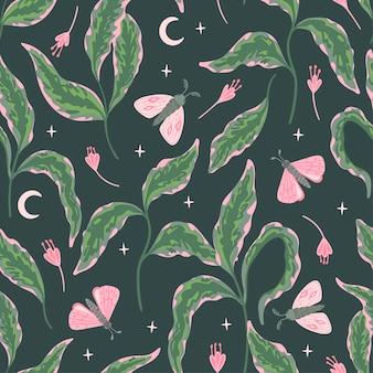 Patrón floral transparente con polillas, estrellas y luna sobre un fondo oscuro. ramas verdes con hojas, flores, mariposas.
