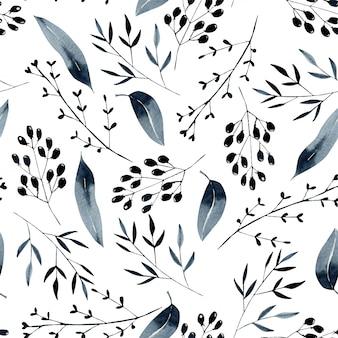 Patrón floral transparente con ramas azules acuarelas