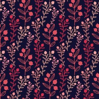 Patrón floral transparente con ramas rojas y bayas