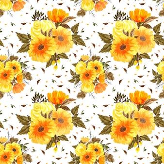 Patrón floral transparente con ramo de flores naranjas