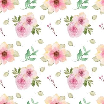 Patrón floral transparente rosa elegante