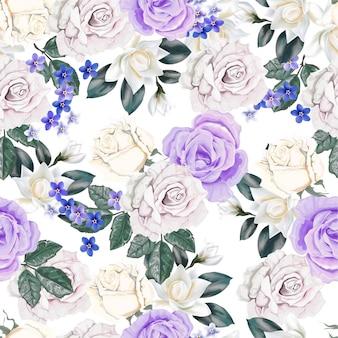 Patrón floral transparente con rosa