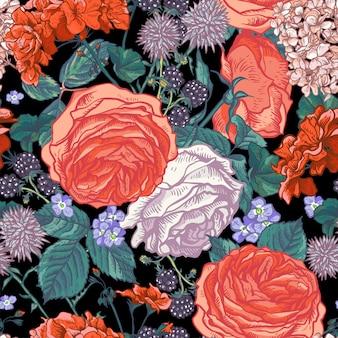 Patrón floral transparente con rosas florecientes