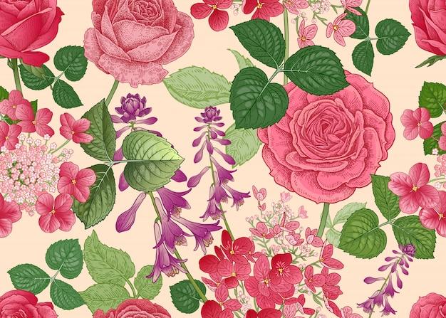 Patrón floral transparente con rosas y hortensias.