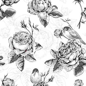 Patrón floral transparente con rosas y pájaros