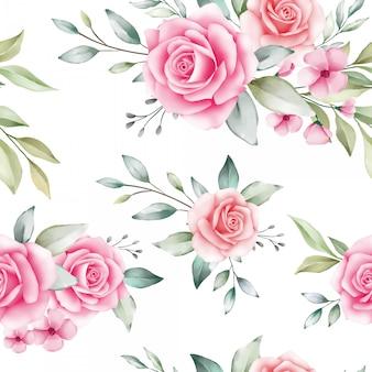 Patrón floral transparente de rosas ruborizadas