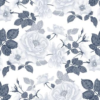 Patrón floral transparente con rosas.