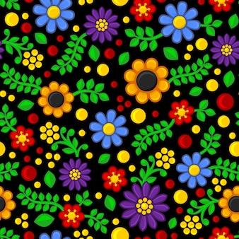Patrón floral transparente sobre fondo negro.