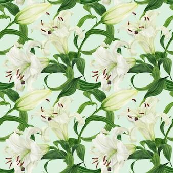 Patrón floral transparente tropical con lirio blanco