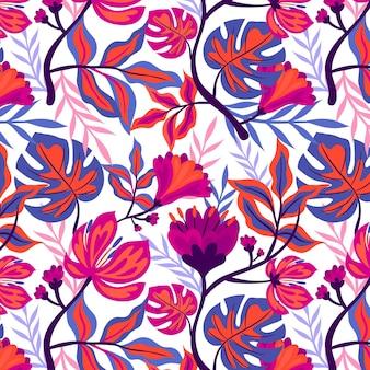 Patrón floral tropical colorido pintado a mano