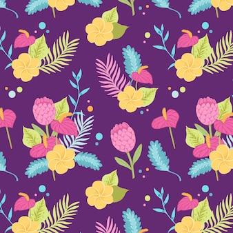 Patrón floral tropical colorido