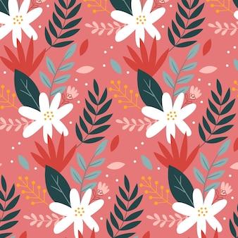 Patrón floral tropical pintado