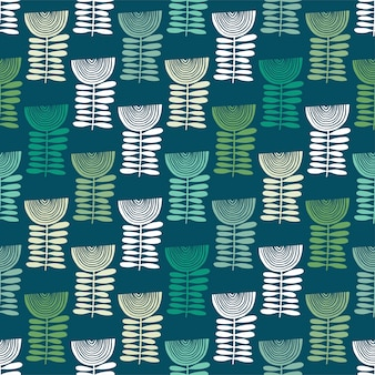 Patrón floral vector en estilo doodle con flores