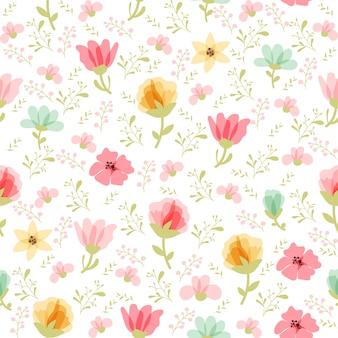 Patrón floral vector en estilo doodle