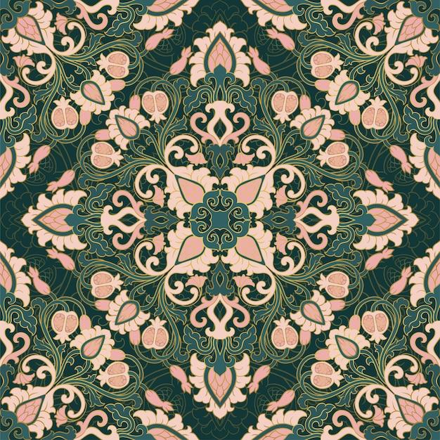 Patrón floral vector con granada. adorno de filigrana sin costuras. papel tapiz verde, textil, chal, alfombra.