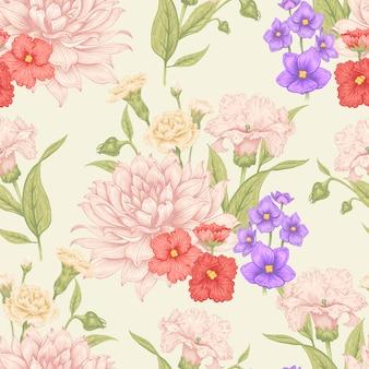 Patrón floral vector inconsútil