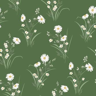 Patrón floral de vector transparente de primavera con margaritas
