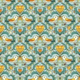 Patrón floral vintage sin fisuras para fondos de pantalla retro