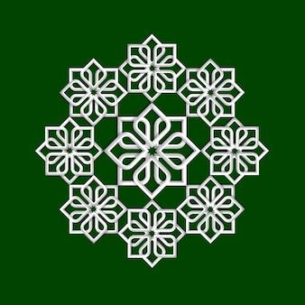 Patrón de flores en 3d en estilo árabe