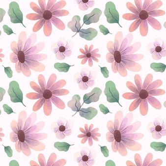Patrón de flores acuarela abstracta