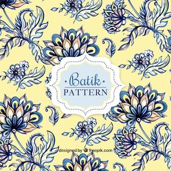 Patrón de flores de acuarela en estilo batik