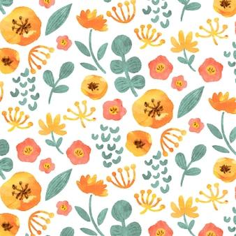 Patrón de flores amarillas acuarela abstracta