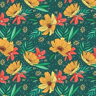 Patrón de flores amarillas frash