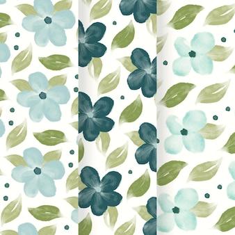 Patrón de flores azul acuarela abstracta