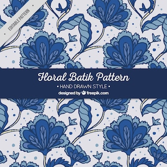 Patrón de flores batik dibujadas a mano