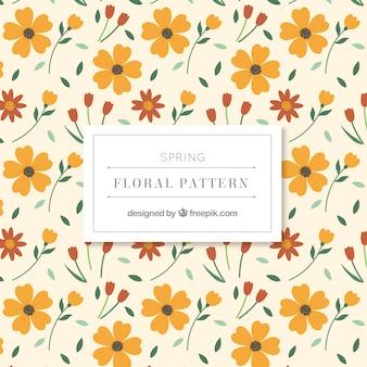 Patrón de flores de color amarillo con hojas