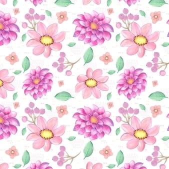 Patrón de flores de color rosa acuarela
