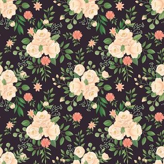 Patrón de flores color de rosa. impresión en negro de rosas, capullos florales y ilustración de fondo oscuro transparente floral