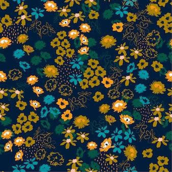 Patrón de flores de colores en flores a pequeña escala. fondo transparente floral estilo de la libertad