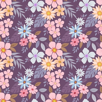 Patrón de flores coloridas dibujadas a mano