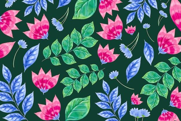 Patrón de flores coloridas y hojas tropicales
