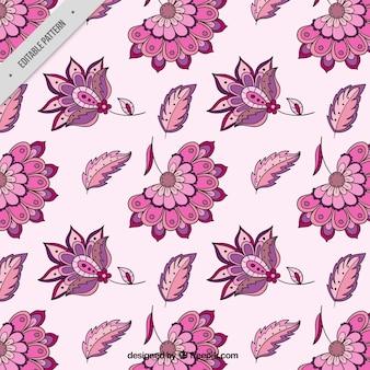 Patrón de flores dibujadas a mano en estilo batik