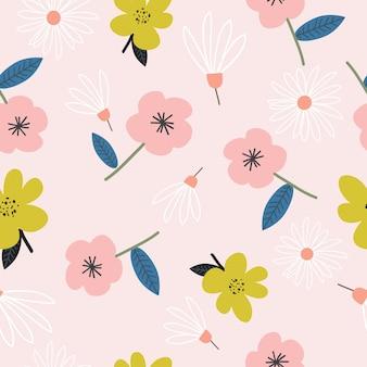 Patrón de flores dibujadas mano linda inconsútil