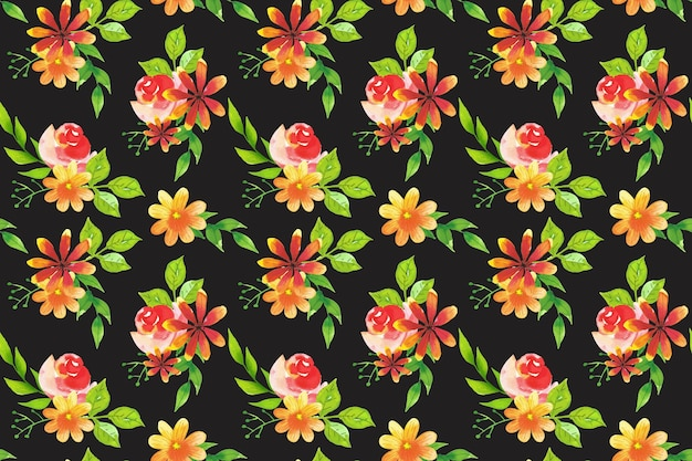Patrón de flores diseño de acuarela