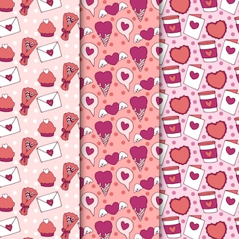 Patrón de flores y dulces de san valentín