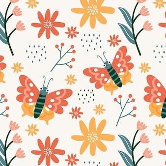 Patrón de flores e insectos.