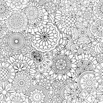 Patrón con flores de estilo mandala redondas