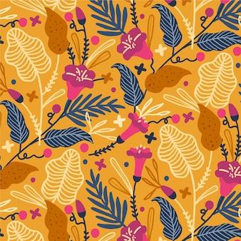 Patrón de flores exóticas pintado a mano