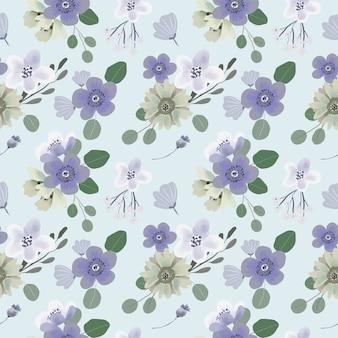 Patrón de flores sin fisuras de hojas de eucalipto y anémona