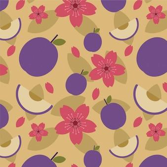 Patrón de flores y frutas de ciruela geométrica vintage