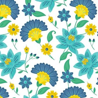 Patrón de flores y hojas exóticas pintadas de colores