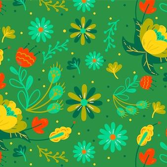 Patrón de flores y hojas exóticas pintadas a mano de colores