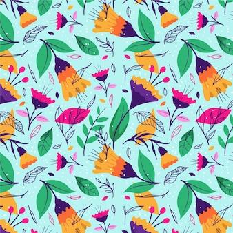 Patrón de flores y hojas exóticas pintadas a mano