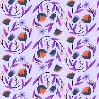 Patrón de flores y hojas exóticas pintadas a mano.
